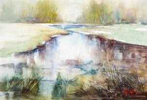 """Donauauen – erste Frühlingsstrahlen – Danube flood plain first sun rays"" original fine art by Christa Friedl"
