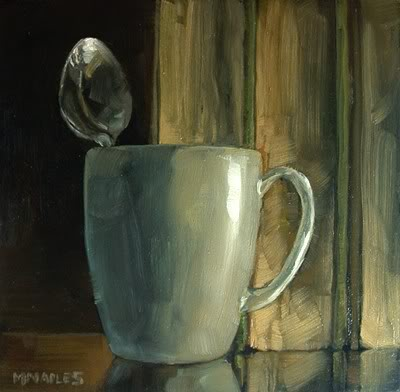 """Mug & Spoon with Books"" original fine art by Michael Naples"