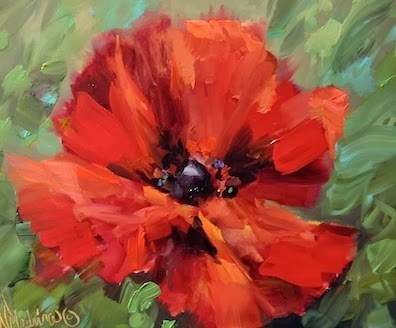 """Crescendo Red Poppy Painting by Floral Artist Nancy Medina"" original fine art by Nancy Medina"