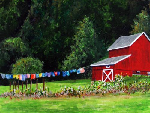 """Rural Laundry"" original fine art by Nan Johnson"