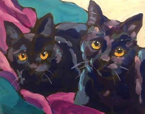 """Two Shiny Black Cats"" original fine art by Kat Corrigan"