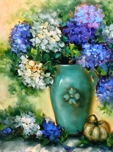 """Hydrangeas and Blue Plumbago and a Space Coast Workshop by Nancy Medina"" original fine art by Nancy Medina"
