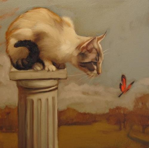 """""""Eye on Butterfly a new cat painting"""" original fine art by Diane Hoeptner"""