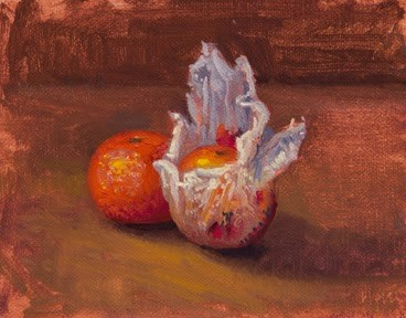 """""""Still Life with Tangerine and Wrapped Tangerine, Barcelona, Spain  (+ Barcelona photos)"""" original fine art by Abbey Ryan"""