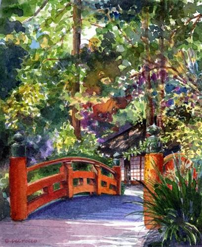 """""""Watercolor: Tea House (& naming your art)"""" original fine art by Belinda Del Pesco"""