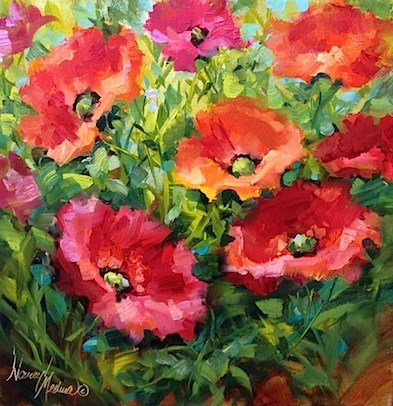 """Rise and Shine Again Pink Poppies and Dallas Arboretum Artscape - Flower Paintings by Nancy Medina"" original fine art by Nancy Medina"