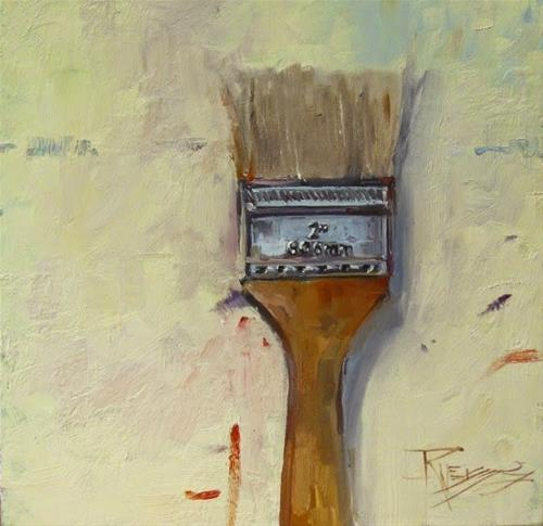 """""""Chip Brush paintbrush, still life, oil painting by Robin Weiss"""" original fine art by Robin Weiss"""