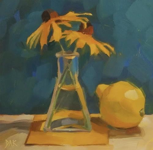"""Yellow Trio"" original fine art by Deborah Ann Kirkeeide"