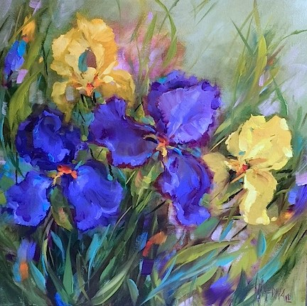 """A Free Iris Video ~ Spring Rain Irises and Pugs in the Garden - Flower Paintings and Workshops by Nancy Medina Art"" original fine art by Nancy Medina"