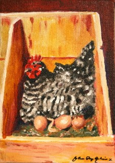 """""""Spackles the Hen, Taking care of Business"""" original fine art by JoAnne Perez Robinson"""