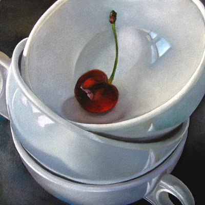 """""""Cups and Cherry  6x6"""" original fine art by M Collier"""