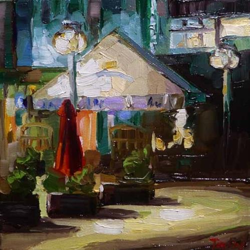 """Abendcafe"" original fine art by Jurij Frey"
