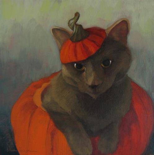 """Holiday Cat I Halloween Coco"" original fine art by Diane Hoeptner"