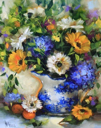 """""""Cup of Sunshine Daisies and What Happens in a Flower Painting Workshop by Texas Artist Nancy Medina"""" original fine art by Nancy Medina"""
