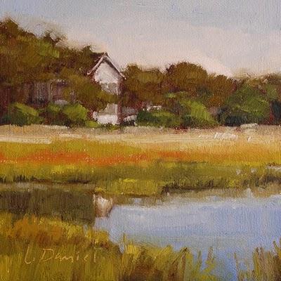 """""""Help Japan Auction #2 - Marsh's Edge Study"""" original fine art by Laurel Daniel"""