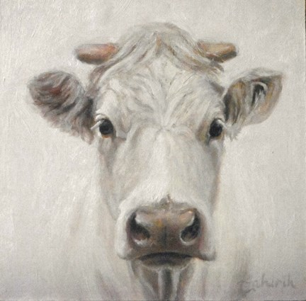 """""""Blanca ~ otherwise known as White cow in a Snowstorm"""" original fine art by Tahirih Goffic"""