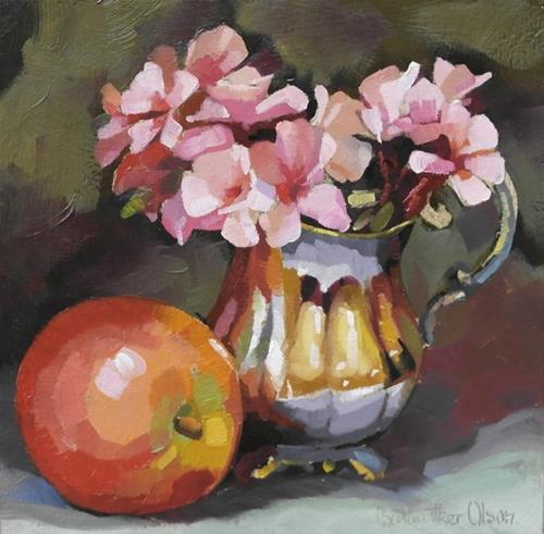 """""""Geraniums in Silver with Apple"""" original fine art by Joanna Olson"""