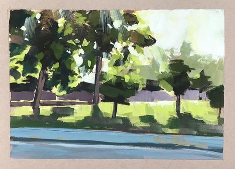 """Light Through the Trees - Gouache"" original fine art by Sharon Schock"
