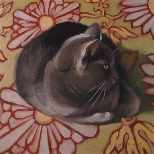 """Daisy Cat gray cat on floral pattern"" original fine art by Diane Hoeptner"