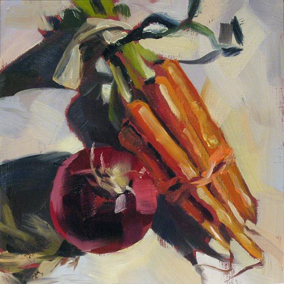 """Onion and Carrots"" original fine art by Deb Anderson"
