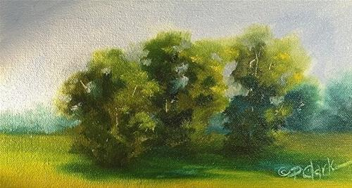 """Green, Green, 5 x 9 Oil, Landscape"" original fine art by Donna Pierce-Clark"
