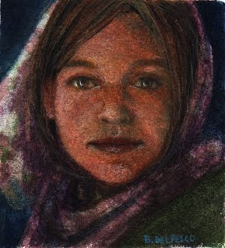 """Watercolor: Adventurous Heart (& inspired by Clausen's portraits)"" original fine art by Belinda Del Pesco"