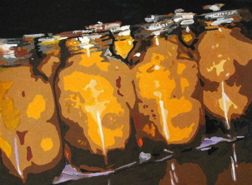 """""""Peaches in a Row"""" original fine art by Nan Johnson"""