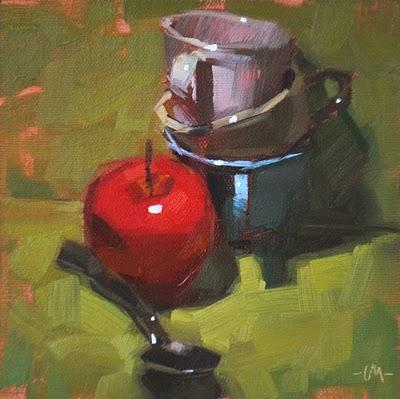 """Spoon First, Cups Last"" original fine art by Carol Marine"
