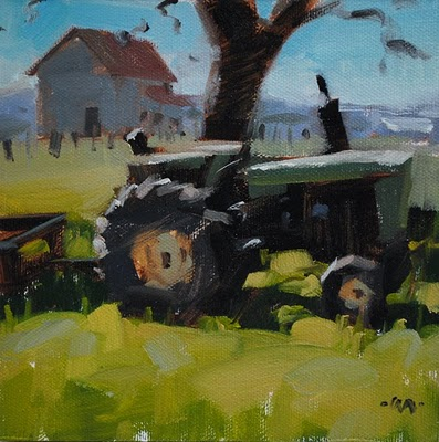 """Green Machine"" original fine art by Carol Marine"