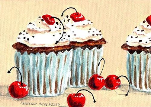 """Chocolate Chocolate Chip Cupcakes"" original fine art by Patricia Ann Rizzo"