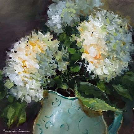 """H2O Hydrangeas - Nancy Medina Art Classes and Workshops"" original fine art by Nancy Medina"