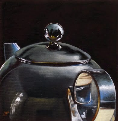 """Chrome Teapot Study"" original fine art by Jelaine Faunce"