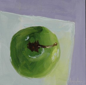 """APPLE FROM ABOVE"" original fine art by Linda Popple"