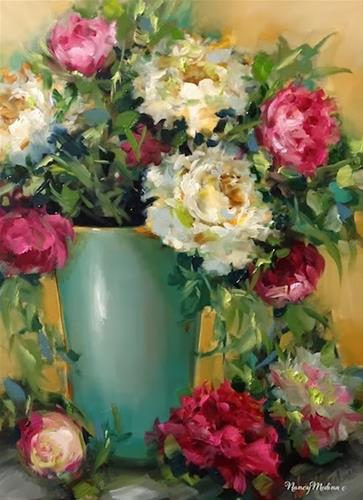 """Confetti Pink Peonies by Nancy Medina"" original fine art by Nancy Medina"