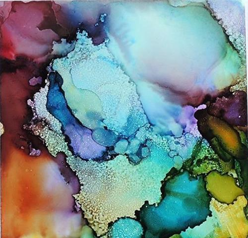 """Original Alcohol Ink Abstract Painting Tender Blossoms  by New Orleans Artist Lou Jordan"" original fine art by Lou Jordan"