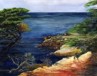 """""""Watercolor: Monterey Coast"""" original fine art by Belinda Del Pesco"""