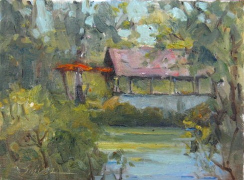 """Springhouse at Pearson Pond"" original fine art by Connie Snipes"