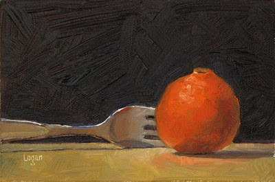 """Fork and Tangerine"" original fine art by Raymond Logan"