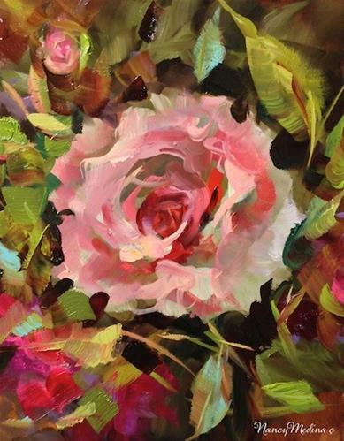 """Angels Among Us, Pink Rose Solo by Floral Artist Nancy Medina"" original fine art by Nancy Medina"