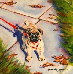 """My Pig, I mean Pug..."" original fine art by JoAnne Perez Robinson"