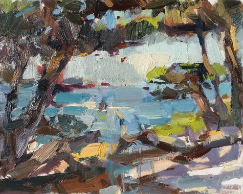 """""""Painting in California 21 Point Lobos (sold)"""" original fine art by Roos Schuring"""