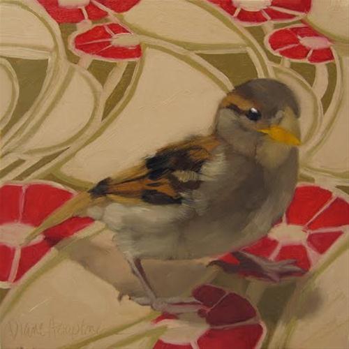 """Flight Risk sparrow on pattern oil painting"" original fine art by Diane Hoeptner"