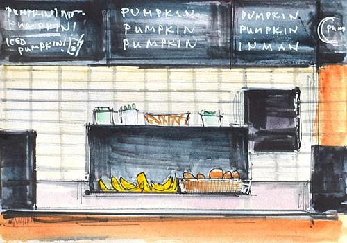 """Sunday at Starbucks"" original fine art by Kevin Inman"