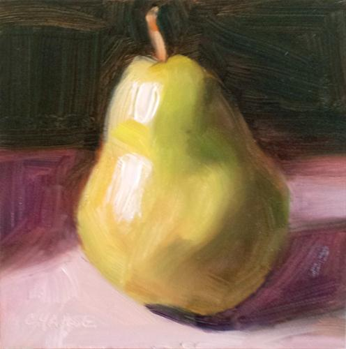 """""""Pear in the Shadow"""" original fine art by Cindy Haase"""