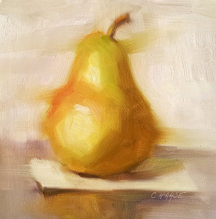 """Pear on Paper"" original fine art by Cindy Haase"