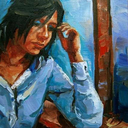 """at the window"" original fine art by Jurij Frey"