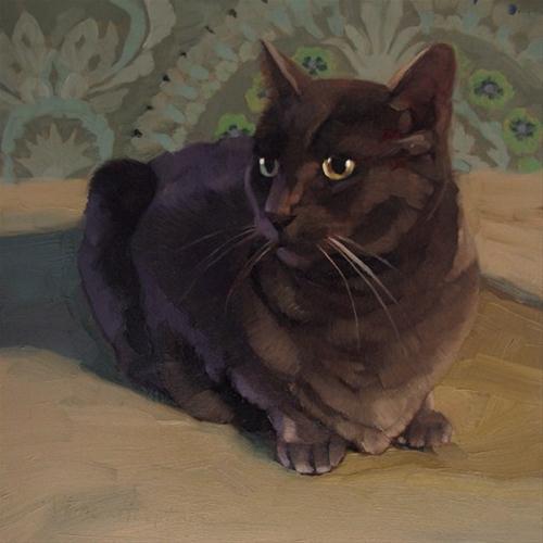 """The Dragon Cat small original Hoeptner oil painting"" original fine art by Diane Hoeptner"