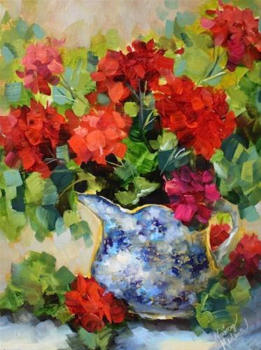 """Seasons Turn Red Geraniums"" original fine art by Nancy Medina"