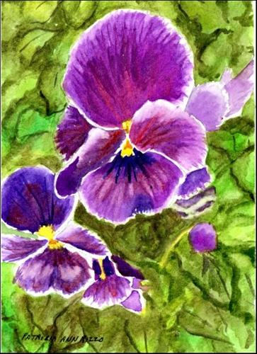 """Purple Pansies"" original fine art by Patricia Ann Rizzo"