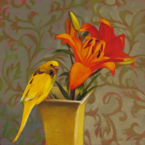 """Parakeet and Lilies, and a brief ramble on painting dark values"" original fine art by Diane Hoeptner"
